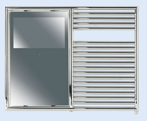Illustration for article titled Aquavision Bathroom TV With Heating Rack Keeps Towels Toasty