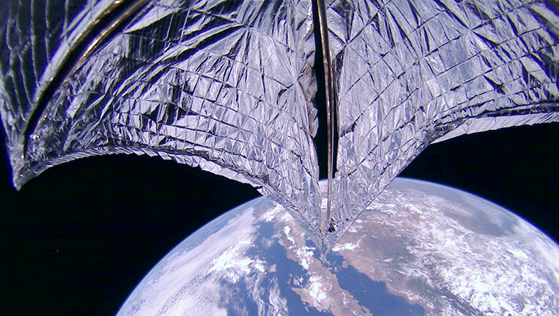 A photo released today showing the recently unfurled solar sails.