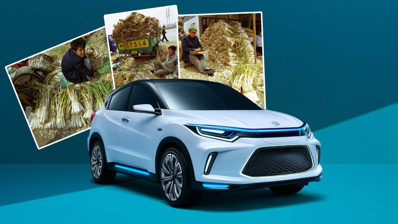 A Chinese-market Guangqi-Honda with photos of Chinese farmers with stockpiles of leeks from the 2001 trade dispute. Photo Credits: Honda, Getty Images