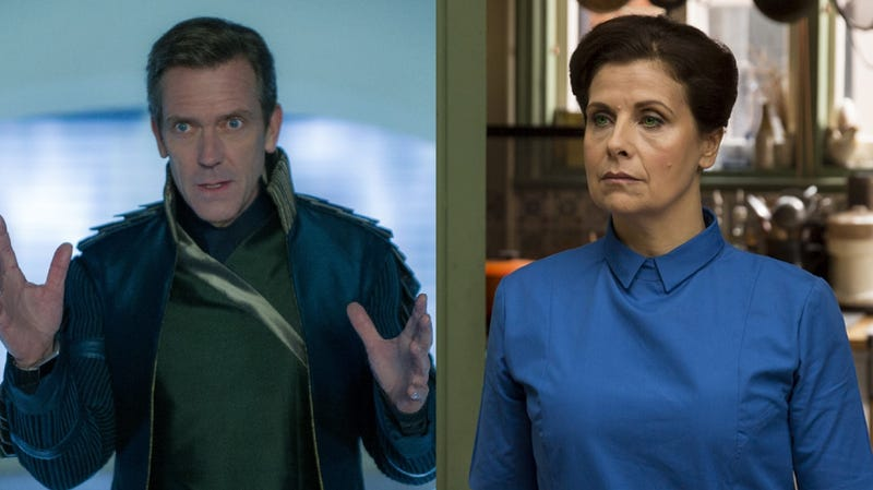 From left: Hugh Laurie in Tomorrowland, and Rebecca Front in Humans.