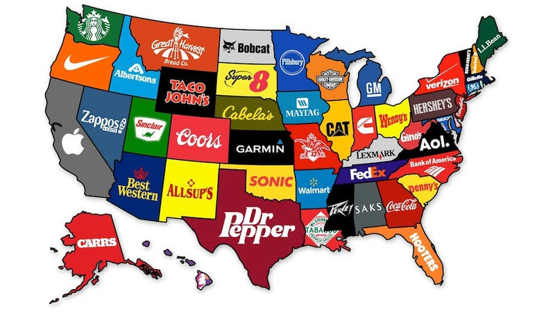 Illustration for article titled What the Most Famous Brands Are from Each State
