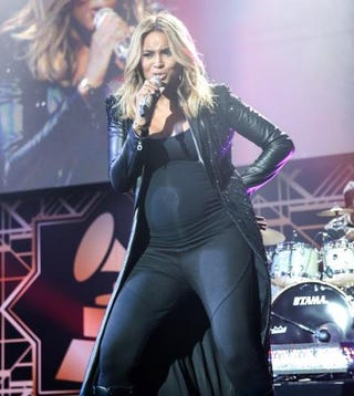 A then-pregnant Ciara performs at the 2014 Hyundai-Grammys celebration at the Los Angeles Convention Center on January 26, 2014.Chelsea Lauren/Getty Images for Hyundai