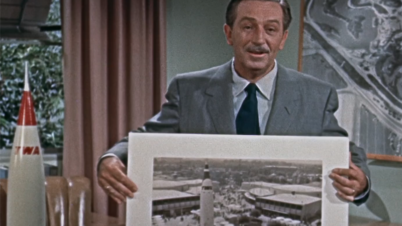 "Walt Disney pitches spaceflight to park goers in a recording about Tomorrowland's Moonliner and its ""Flight to the Moon"" attraction."