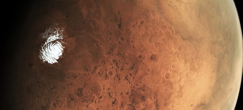 Illustration for article titled Here Is a Rare View of Mars' Icy Backside