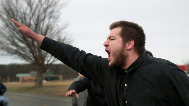 White supremacists demonstrate before the start of a speech by Richard Spencer at Michigan State University on March 5, 2018 in East Lansing, Michigan