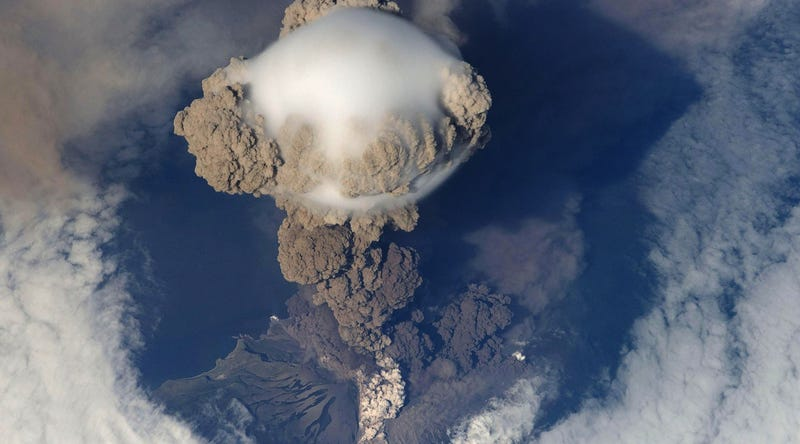 Sarychev eruption in 2009, as seen from the International Space Station. Image: NASA