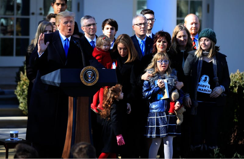 Donald Trump speaks to anti-abortion supporters last year at a March for Life event at the White House.