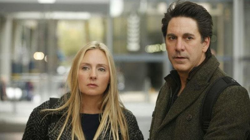 Allegiance's Hope Davis and Scott Cohen, moments before their fatal, final slap