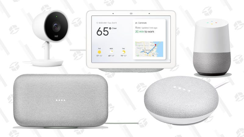 Google Home Hub | $99 | Walmart Smart Lighting Starter Kit (Mini and a GE C-Life bulb) | $35 | WalmartGoogle Home Max | $300 | WalmartGoogle Home Mini | $29 | WalmartNest Indoor Security Camera | $169 | Walmart