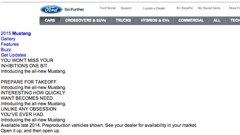 Illustration for article titled 2015 Ford Mustang On Sale In Late 2014 Says Leaked Ford Website