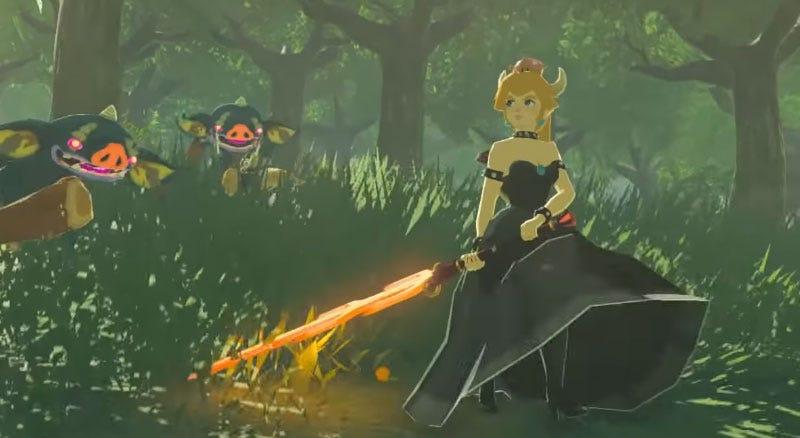Bowsette en un mod de The Legend of Zelda: Breath of the Wild.