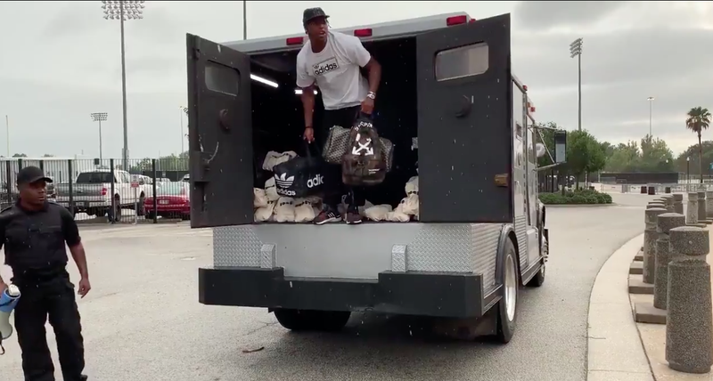 Illustration for article titled Jalen Ramsey Showed Up At Jaguars Camp In The Back Of An Armored Truck