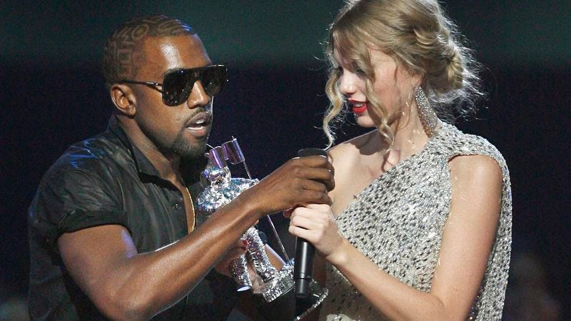 """Illustration for article titled Immovable object Kanye West and unstoppable force Taylor Swift are """"definitely"""" going into the studio"""