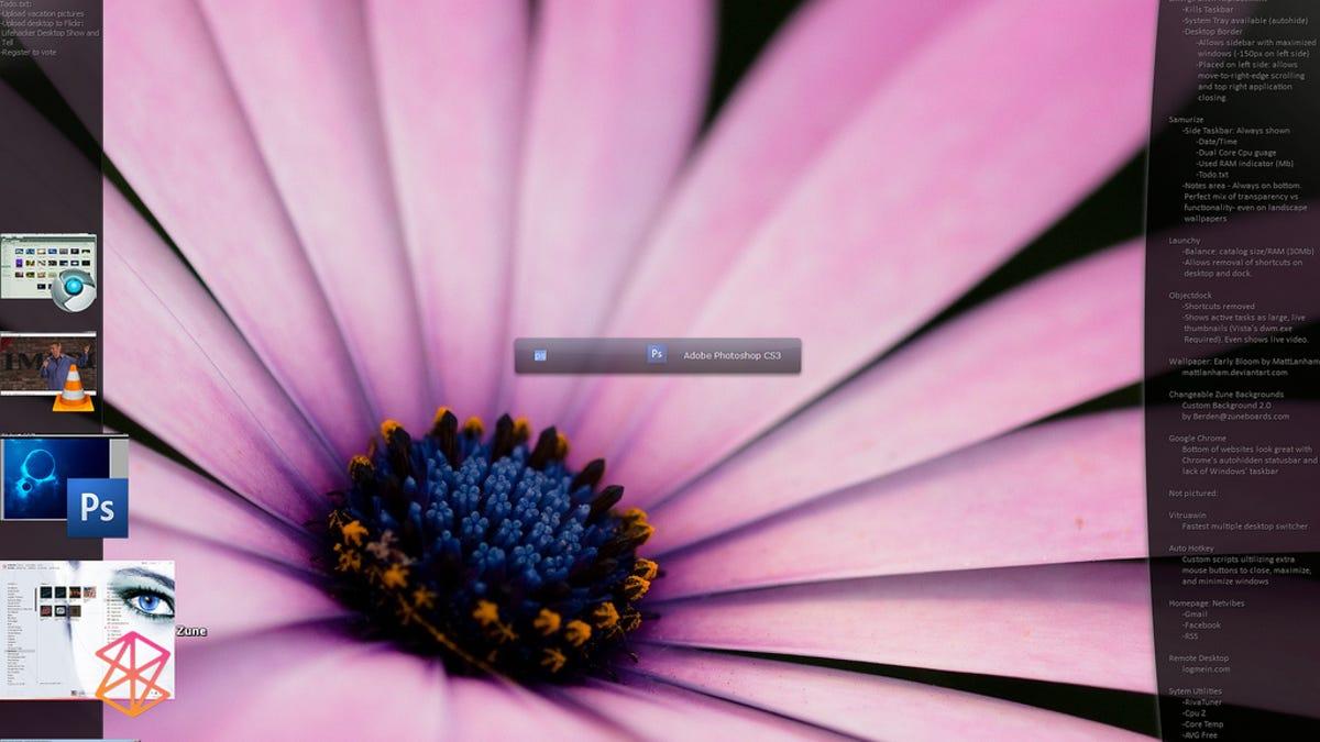 Windows Vista with a Live Thumbnail Sidebar