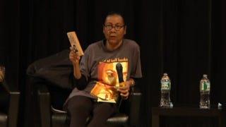 Feminist scholar bell hooks speaking at the New School in New York City May 7, 2014Livestream screenshot
