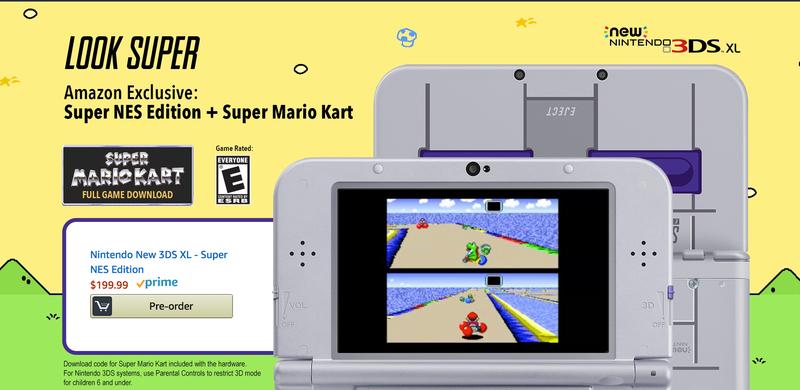 Nueva 3DS XL + Super Mario Kart   $150   Amazon