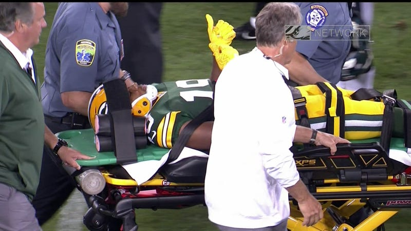 Illustration for article titled Malachi Dupre Stretchered Off Field After Brutal Hit