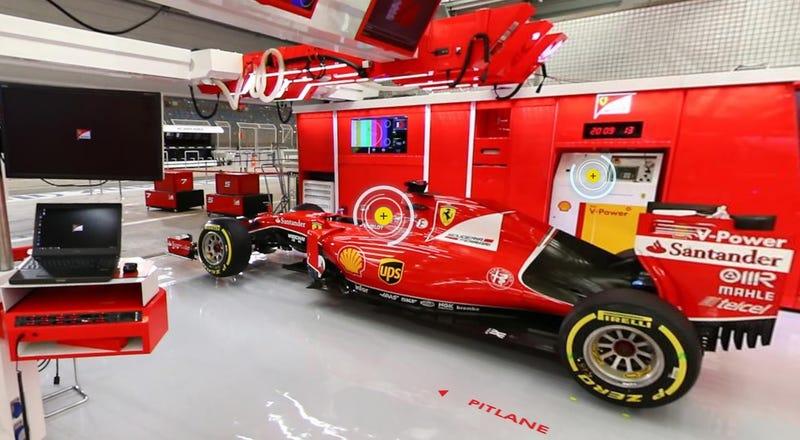 Illustration for article titled Recorre el impresionante interior del garaje de una escudería de Fórmula 1