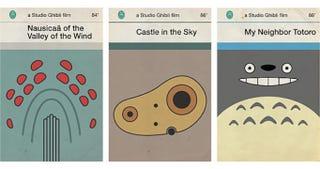 Illustration for article titled Miyazaki's films reimagined as dog-eared Penguin book covers