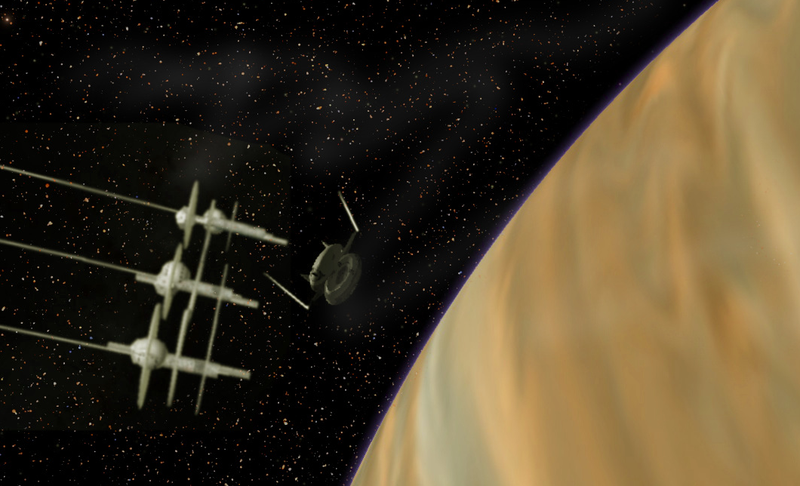 Artist Steve Bowers envisions three skyhooks orbiting a gas giant. Eventually, these structures could create a continuous ring around a planet.