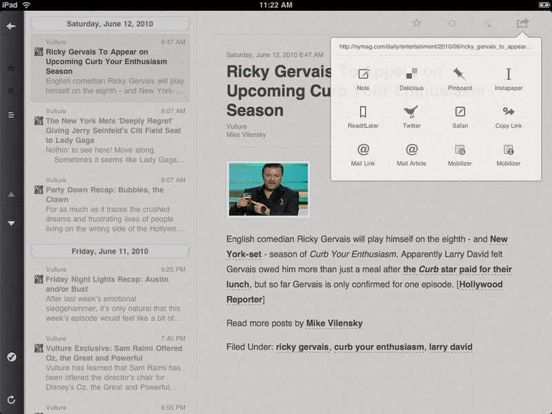 Illustration for article titled Reeder For iPad: RSS With Attention to Detail