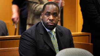 Former Detroit Mayor Kwame Kilpatrick during a 2008 court appearance.Photo by Bill Pugliano/Getty Images