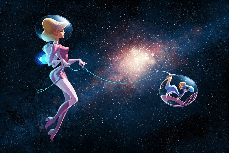 Illustration for article titled Concept Art Writing Prompt: Taking her Alien Pet for a Spacewalk