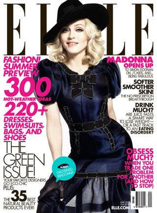 """Illustration for article titled Madonna: Why Stop At One When You Can Achieve World """"Green"""" Magazine Cover Domination?"""