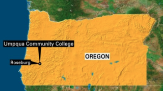 The map locates Umpqua Community College in Roseburg, Ore., where a shooting on campus Oct. 1, 2015, left at least 10 people dead.CNN screenshot