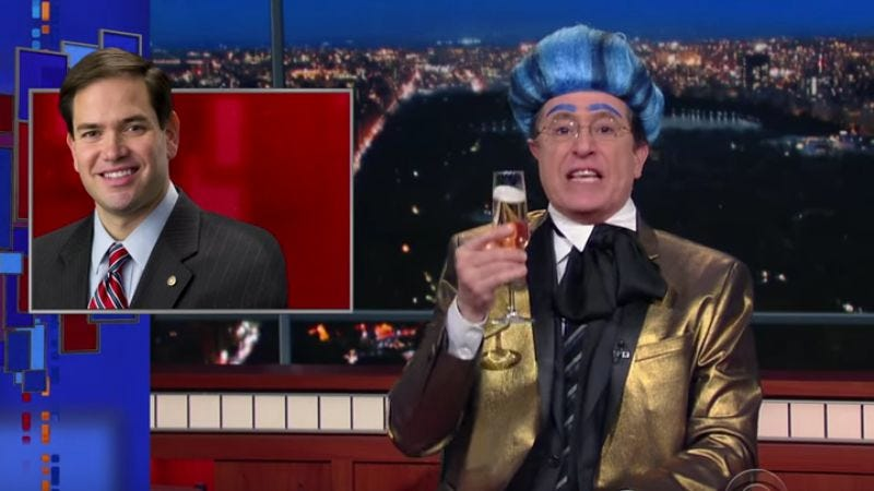 """Illustration for article titled Stephen Colbert toasts Marco Rubio in his latest """"Hungry For Power Games"""""""