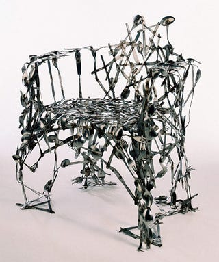 Illustration for article titled British Designer Makes Insane Looking Chairs Out of Hard-To-Recycle Trash