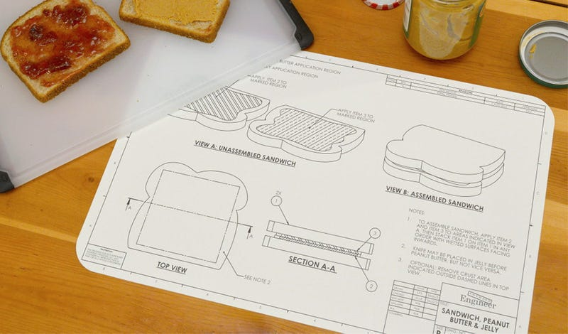 Illustration for article titled Blueprint Placemats Help You Engineer the World's Simplest Meals