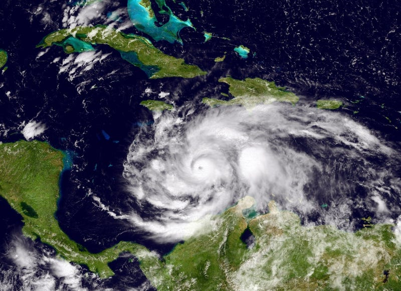 A satellite image of Hurricane Matthew in the Caribbean Sea just south of Cuba and Jamaica on Oct. 2, 2016NOAA via Getty Images