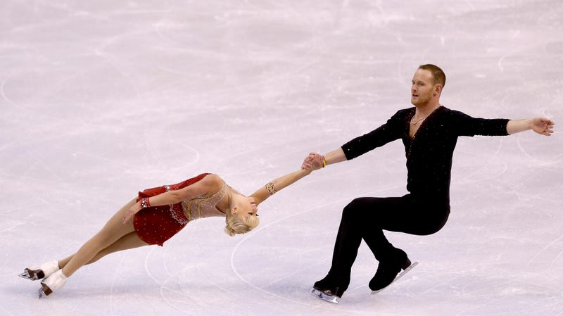 John Coughlin competing in the pairs short program with his partner, Caydee Denney, during the Prudential U.S. Figure Skating Championships at TD Garden in 2014.