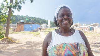 Heloisa Helena Costa Berto stands in the remains of the Vila Autódromo community, which is right next to the Olympic Park in Rio de Janeiro. Berto's house was recently demolished in the area.Kiratiana Freelon