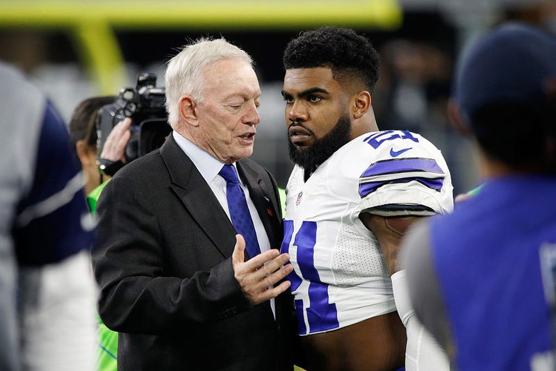 Dallas Cowboys owner Jerry Jones  with Ezekiel Elliott of the Dallas Cowboys at AT&T Stadium In Arlington, Texas, on Jan. 15, 2017 (Joe Robbins/Getty Images)