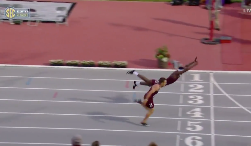 Illustration for article titled Texas A&M Hurdler Wins SEC Title With A Daring Diving Finish