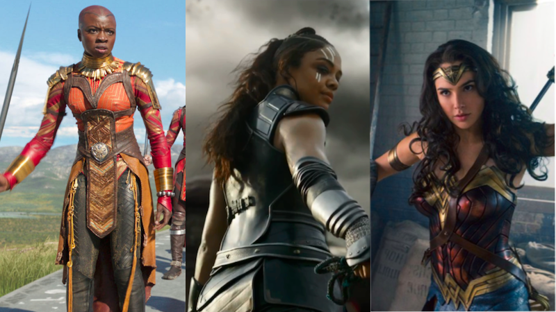 From left to right: Danai Gurira as Okoye in Black Panther, Tessa Thompson as Valkyrie in Thor: Ragnarok, and Gal Gadot as Wonder Woman in Wonder Woman.