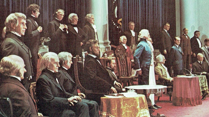 Photo of the Hall of Presidents in 1972, scanned from my personal copy of the LP for the attraction's soundtrack