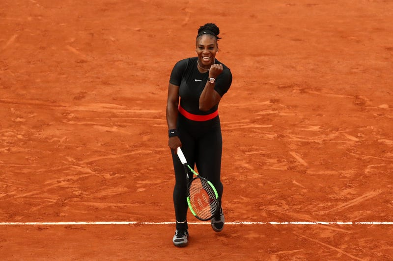Serena Williams of The United States celebrates victory during the ladies singles third round match against Julia Georges of Germany during day seven of the 2018 French Open at Roland Garros on June 2, 2018 in Paris, France.