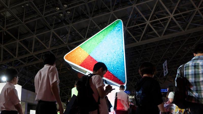 Attendees stand in front of the Google Play booth during the Tokyo Game Show 2018 on September 20, 2018 in Chiba, Japan.