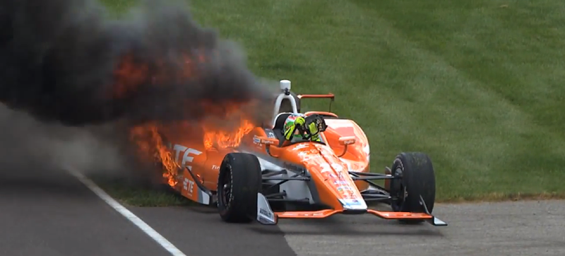 Simona De Silvestro Escapes Unharmed After Her Indycar Ignites On Fire