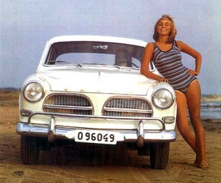 Illustration for article titled North Sea Beach Babes Dig The Volvo Amazon!