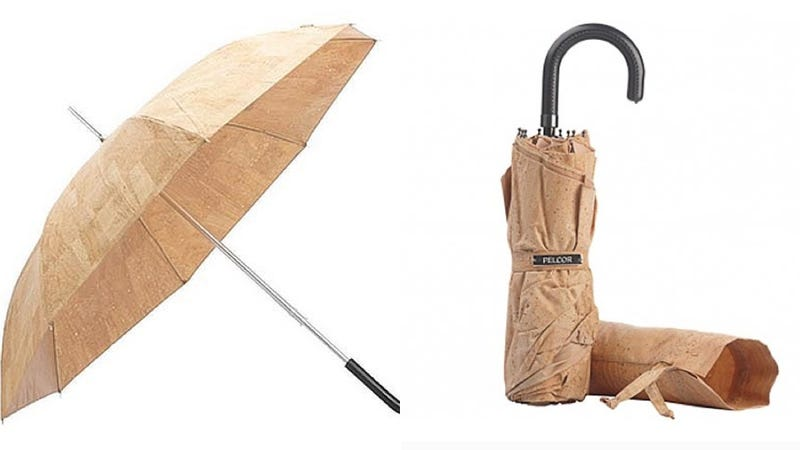 Illustration for article titled An Umbrella Made of Cork to Plug Up the Rain