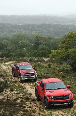 Illustration for article titled Super Truck Tango: Ford F-150 SVT Raptor Vs. Dodge Ram Power Wagon