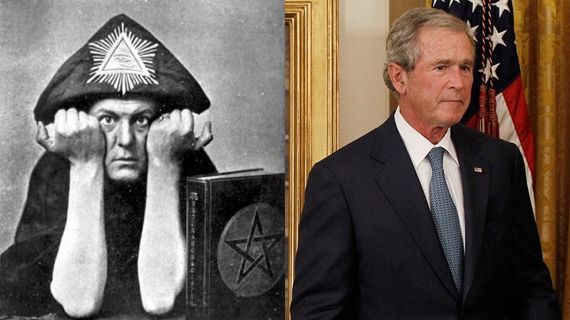Illustration for article titled According to the Internet, Aleister Crowley Was George W. Bush's Grandfather