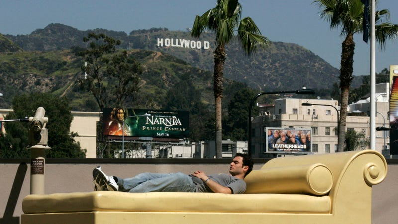 "An oversized fiberglass couch, installed 16 years ago at a Los Angeles mall as part of ""The Road to Hollywood,"" a public art piece about the movie business. The LA Times said that the daybed was meant to evoke daydreaming, but there's been a public perception that it's in reference to the casting couch and it has been removed in the wake of the Weinstein allegations. ""I get it,"" said the artist. ""Abuse by the powerful is real."" Image via AP."