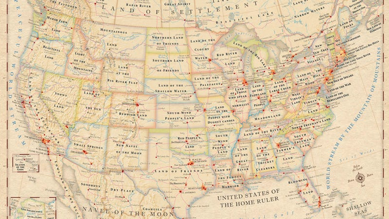 Illustration for article titled A map showing the original meanings of place names in North America