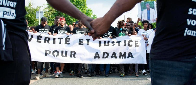 Protesters gather in support of Adama Traore, a black Muslim Frenchman who died in custody.Twitter