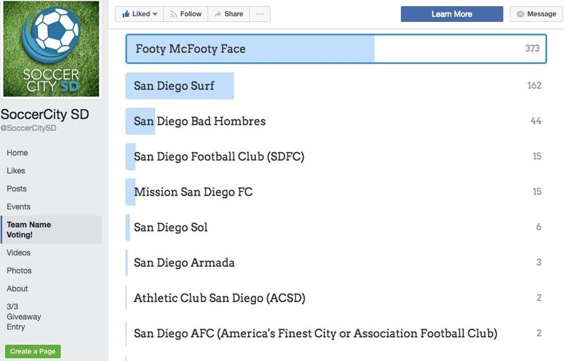 """Illustration for article titled """"Footy McFooty Face"""" Leads Fan Vote For San Diego's Potential MLS Team Name"""